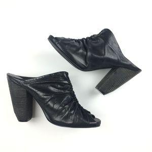 All Saints Leather Peep Toe Heel Mules